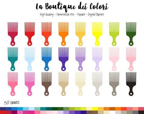 50 Rainbow Hair comb Clip art, Digital illustrations PNG.