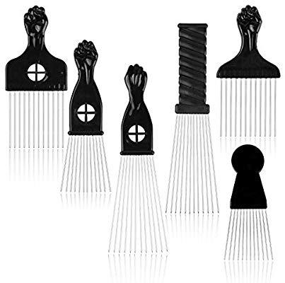 WBCBEC 6 Pcs Afro Comb Metal African American Pick Comb.