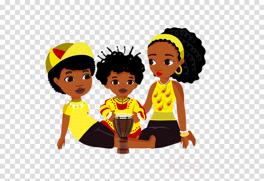 cartoon afro hairstyle yellow black hair clipart.