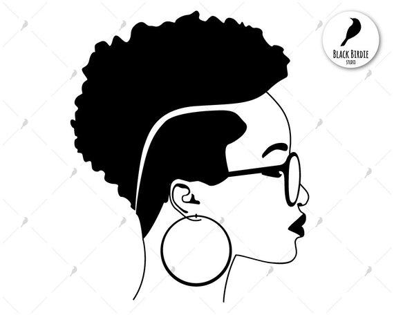 Black woman svg, black woman clipart, earrings svg frame.