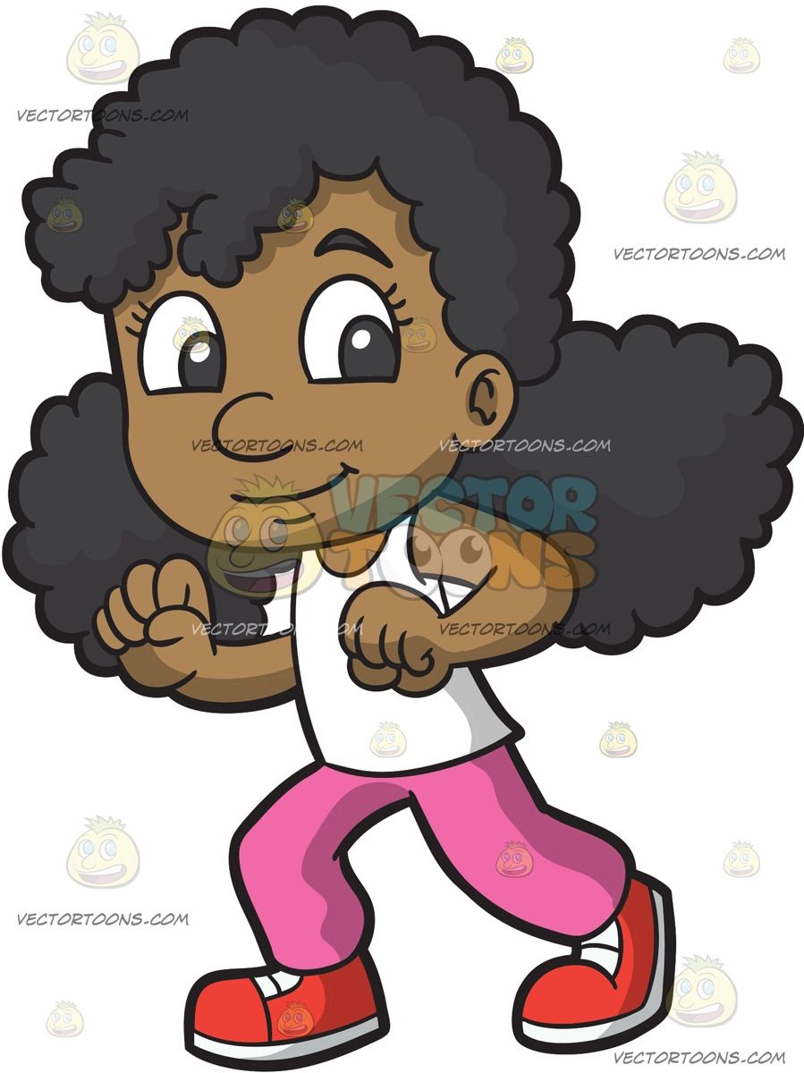 A Little Girl Doing The Shuffle Dance: A black girl with.