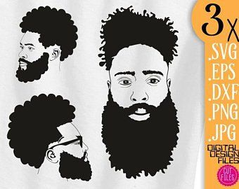 Beard Black Afro Man svg bald man clipart short beard file.