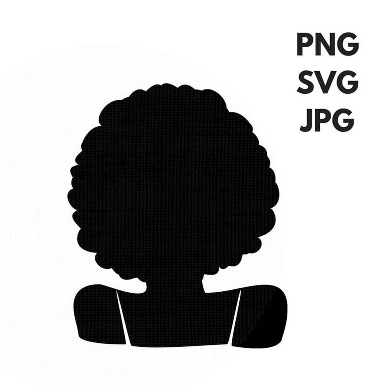 Afro svg Silhouette clip art Afro curly natural Hair PNG Files Digital Art  JPG file African.