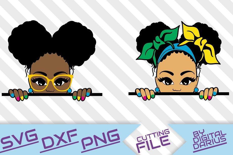 2x Peeking afro girl svg, Melanin, Black woman , Afro Puffs.