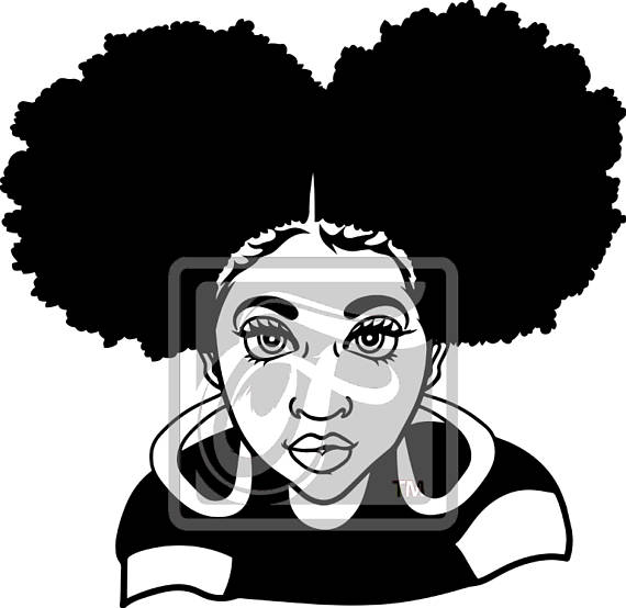 Focsi Girl with Afro Puffs SVG.