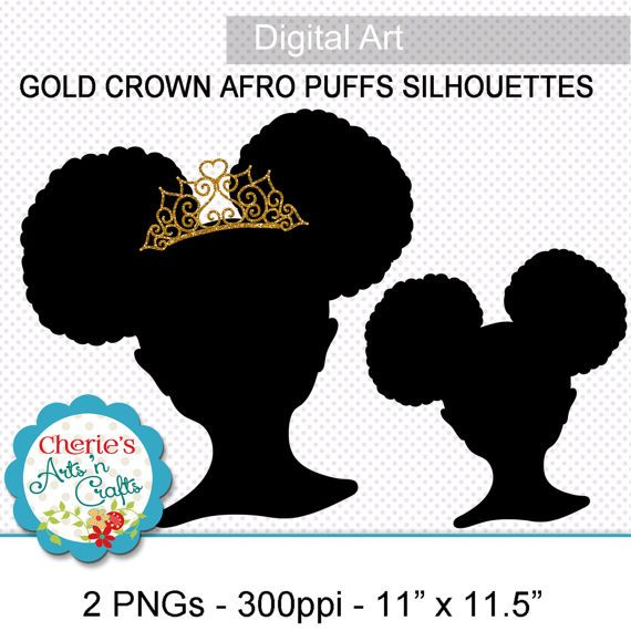 Afro Puffs Little Girl With Gold Crown Silhouette.