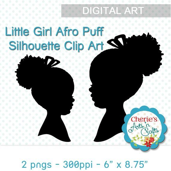 Cute Little Afro Puff Girl Silhouette.