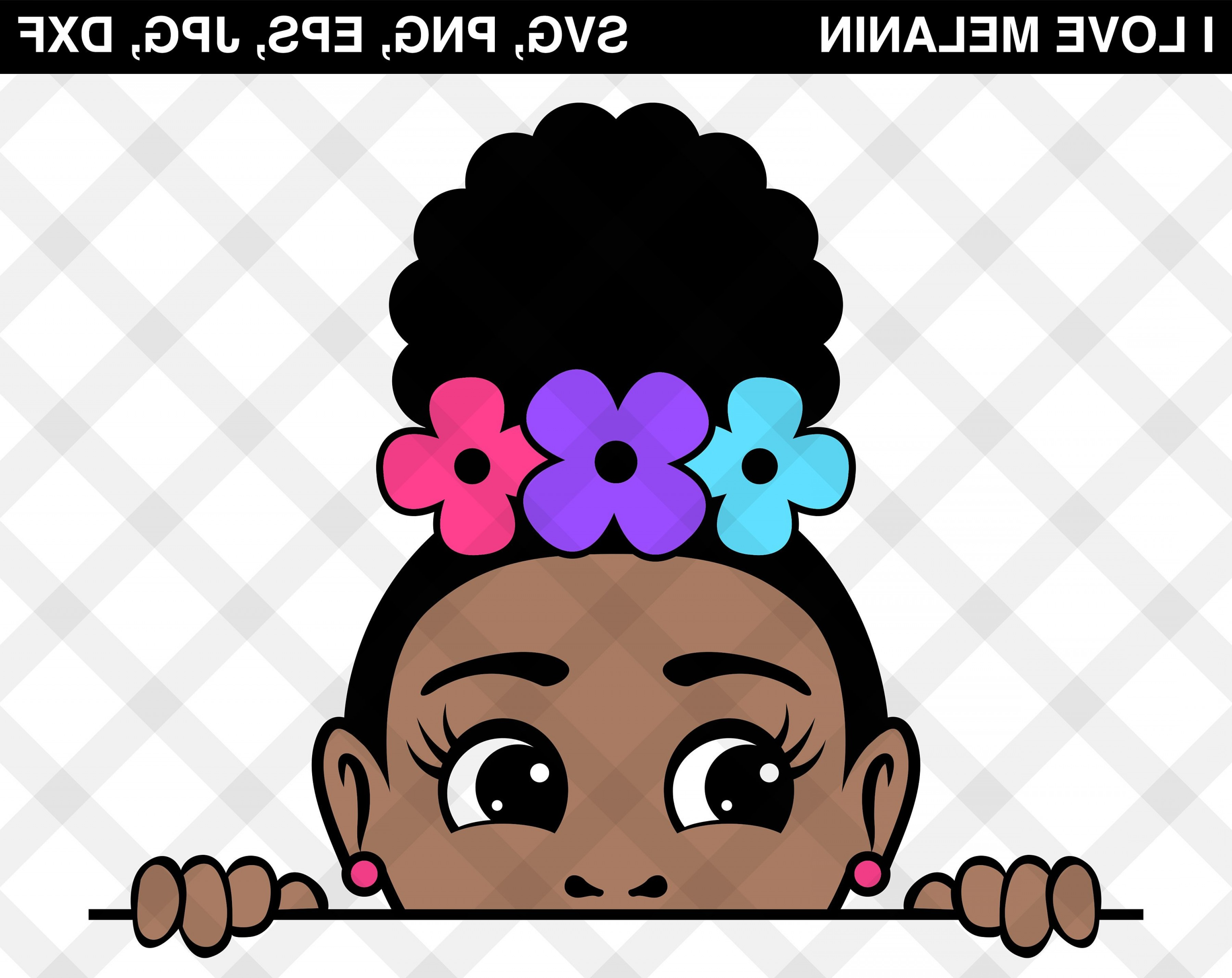Afro Puff Roses Girl Svg Vector Peekaboo.