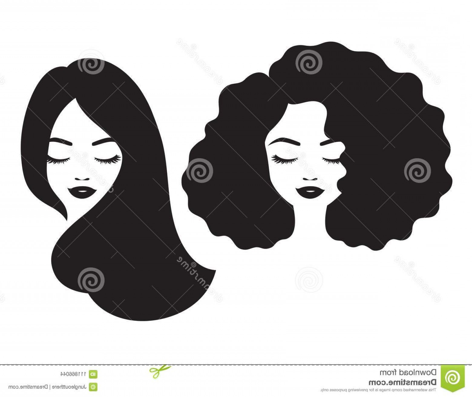 Beautiful Woman Face Hair Silhouette Vector Illustration.