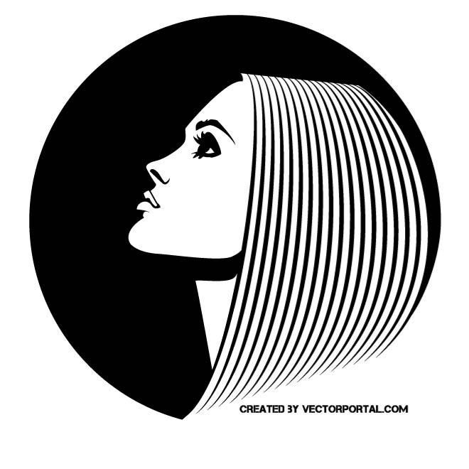 Girl with straight hair vector image..