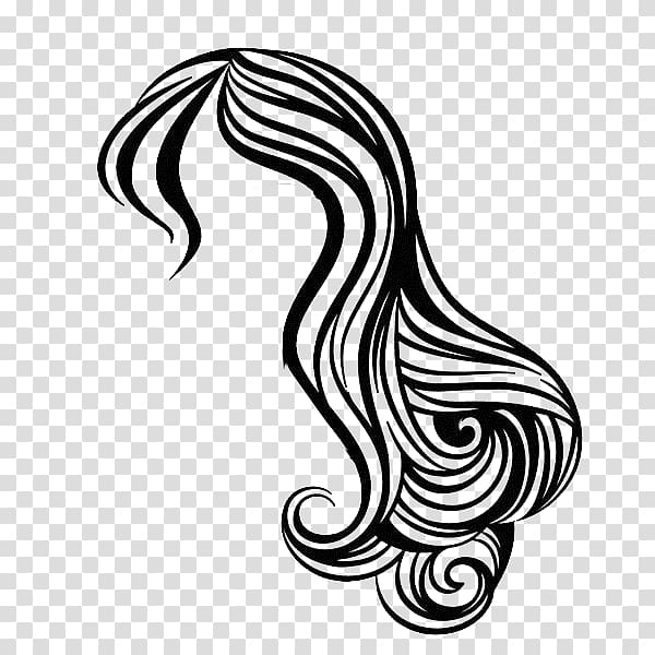 Women\'s white and black hair sketch, Hairstyle Beauty.