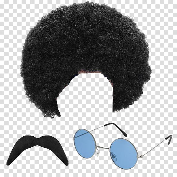 Afro hair illustration, 1970s 1960s Hippie Costume party Wig, Afro.