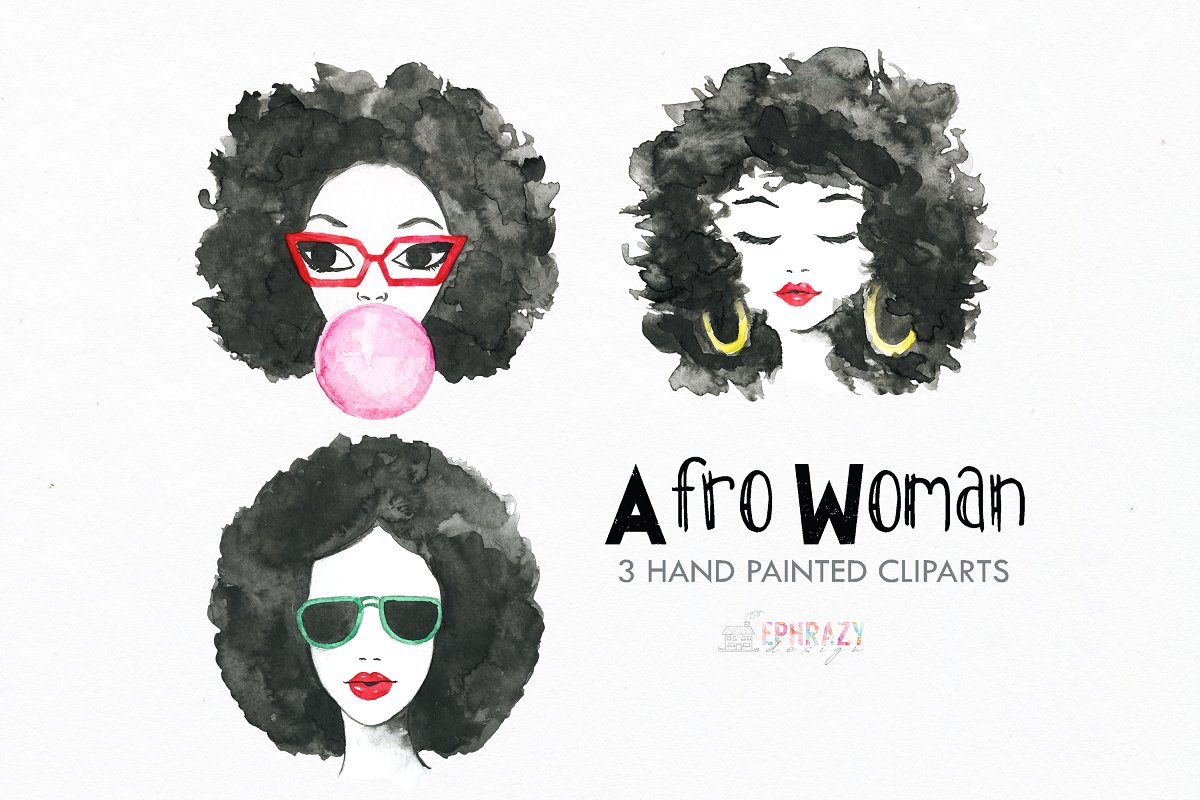 Afro woman clipart. Watercolor.