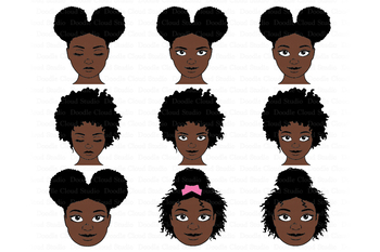Afro Girl SVG Bundle, Afro Woman SVG, Black Woman Natural Hair Clipart.