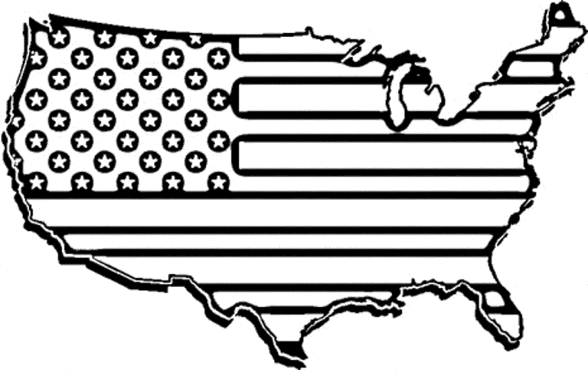 American flag clipart to color.