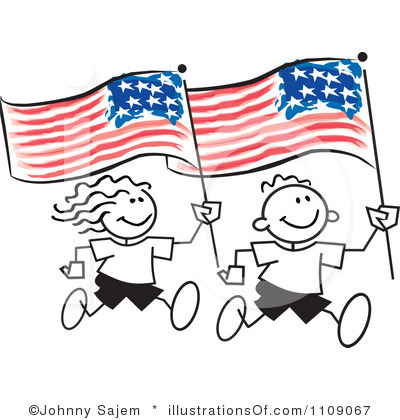 Kid with american flag clipart.