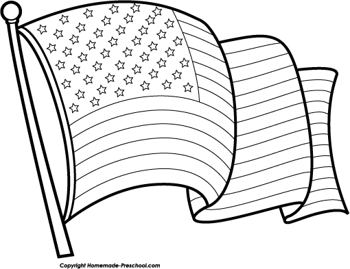 Clipart American Flag Black And White.