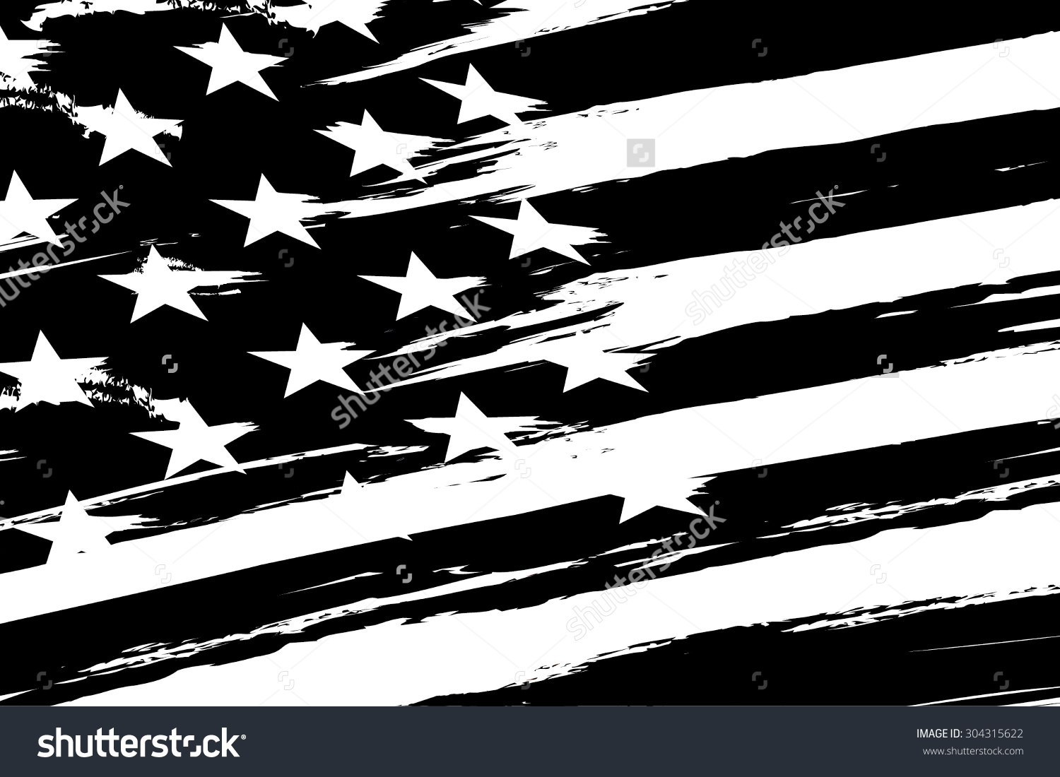 American flag black and white vector clipart.