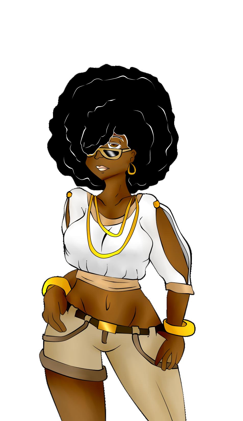 Afro girl in 2019.