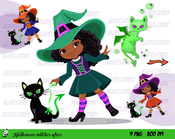 Halloween Witch Afros Clipart, Halloween Multicultural Girls Clipart..