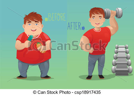 Vectors of Before and after: weight loss.
