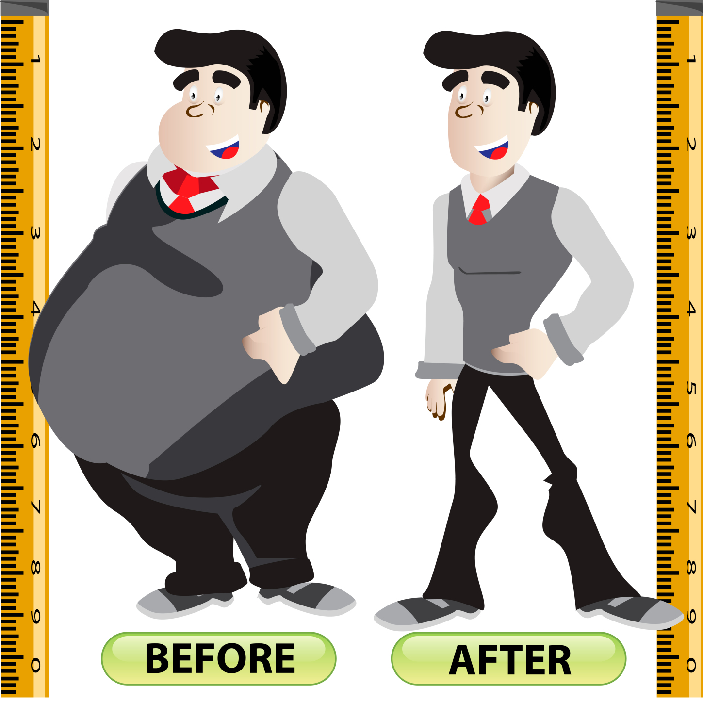 Before After Weight Loss Overweight Obese Clip Art.