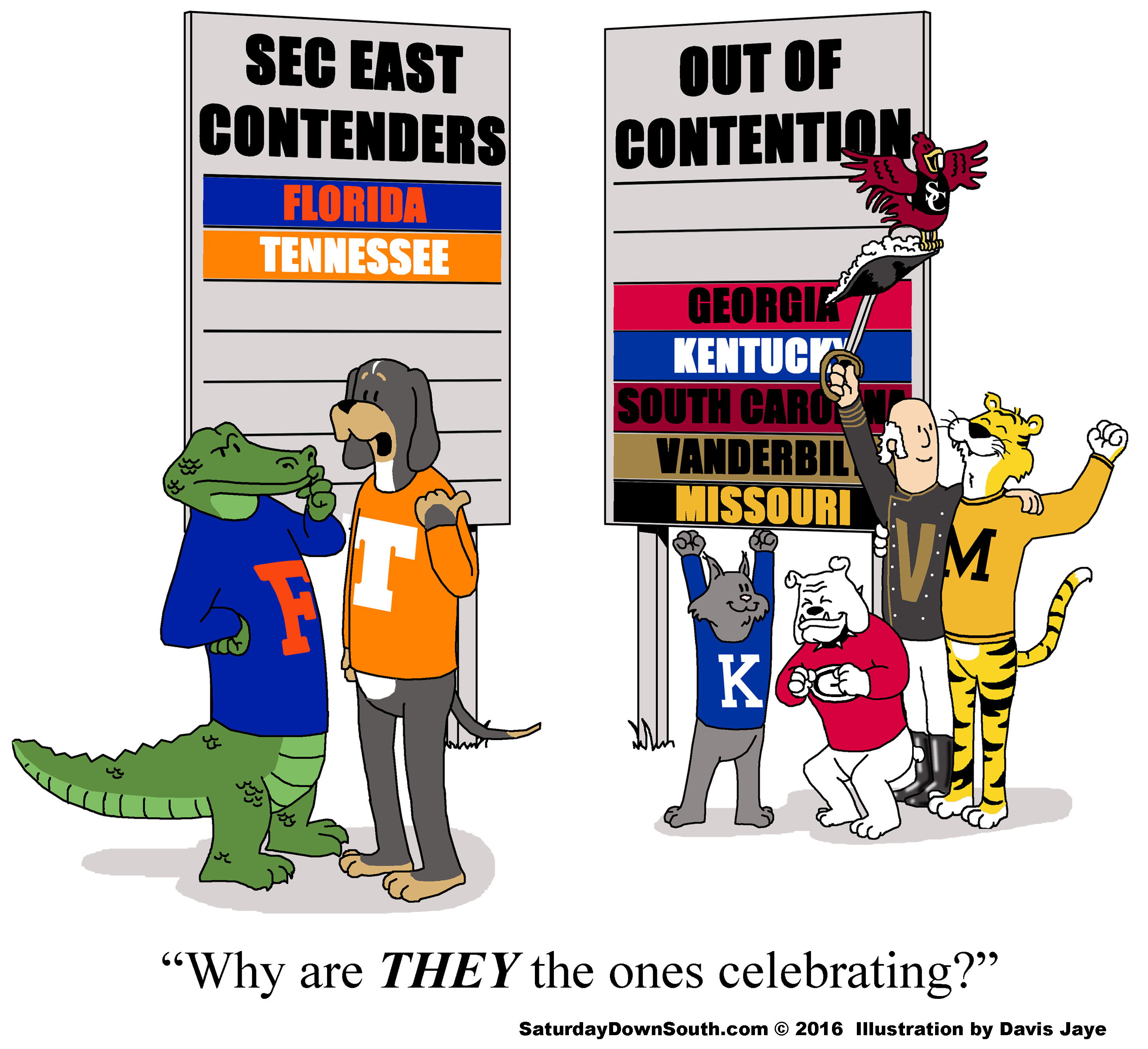 These 8 comics perfectly illustrate the 2016 SEC East race.