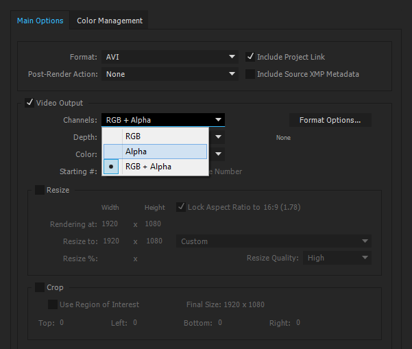 Solved: How to render Alpha + RGB in Adobe Media Encoder.