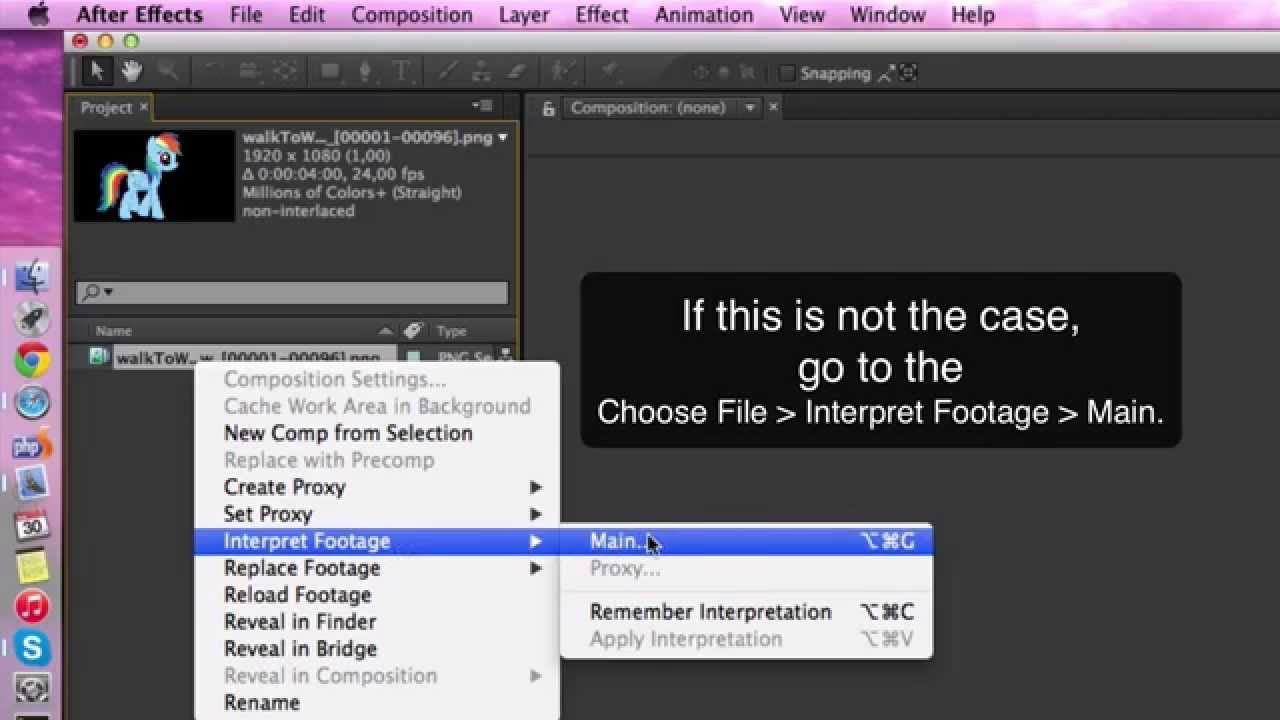 Adobe After Effects: How to import a PNG sequence.