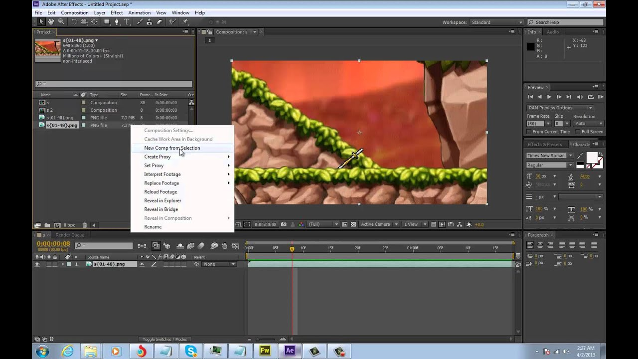 Adobe After Effects: Importing a PNG sequence.