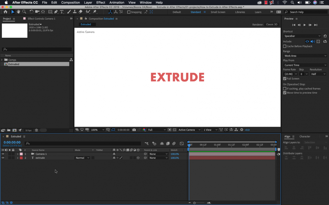How to Extrude Text in Adobe After Effects.