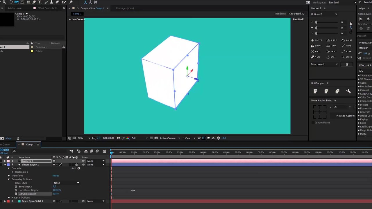 How To Extrude 2D Shapes into 3D Objects in After Effects.