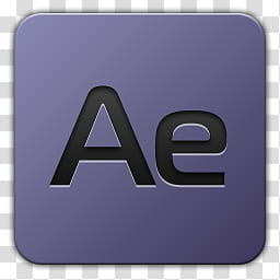 Icon , Adobe After Effects, purple and black Ae logo.