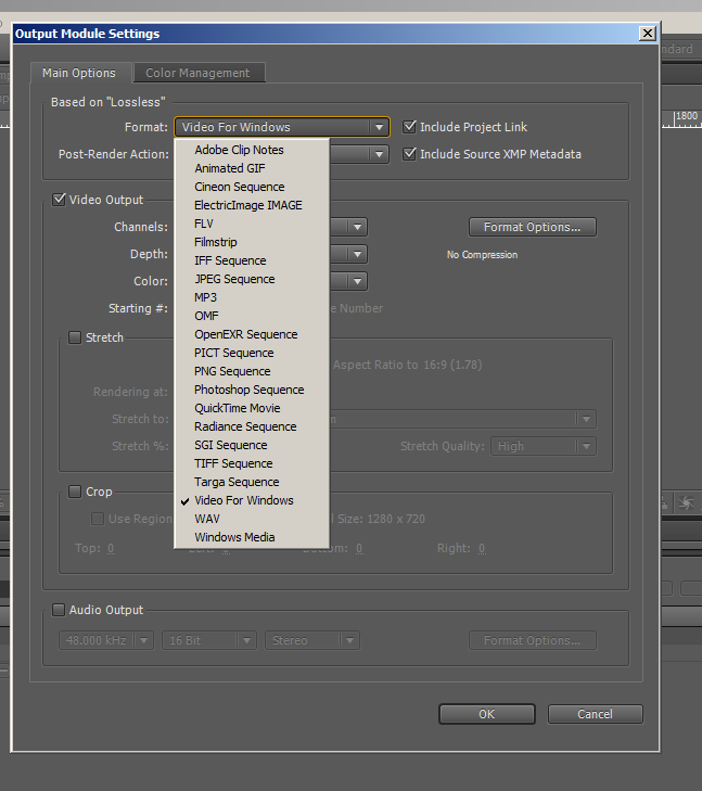 how to get H.264 output in after effects.