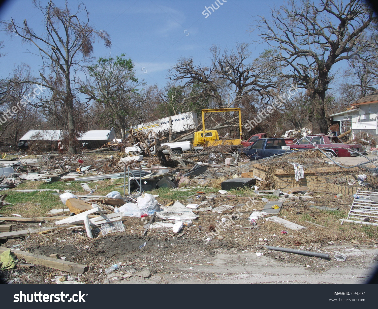 Oak Street, Biloxi Ms. After Hurricane Katrina. Stock Photo 694207.