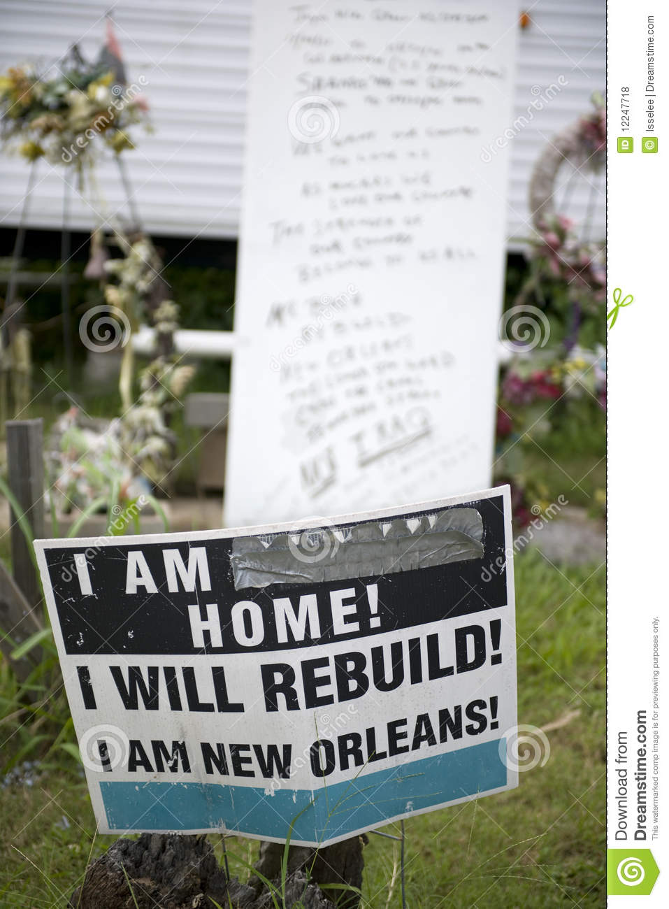 Sign In Yard After Hurricane Katrina, New Orleans Royalty Free.