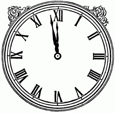 Midnight Clock and Gears Clipart.