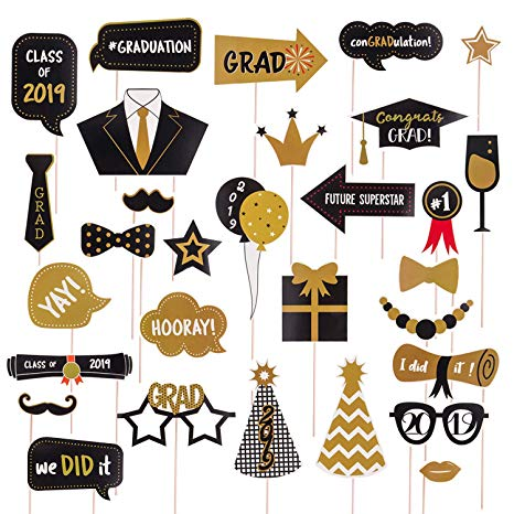 TUPARKA 30Pcs Graduation Party Photo Booth Props Class of 2019 Graduation  Party Decorations.