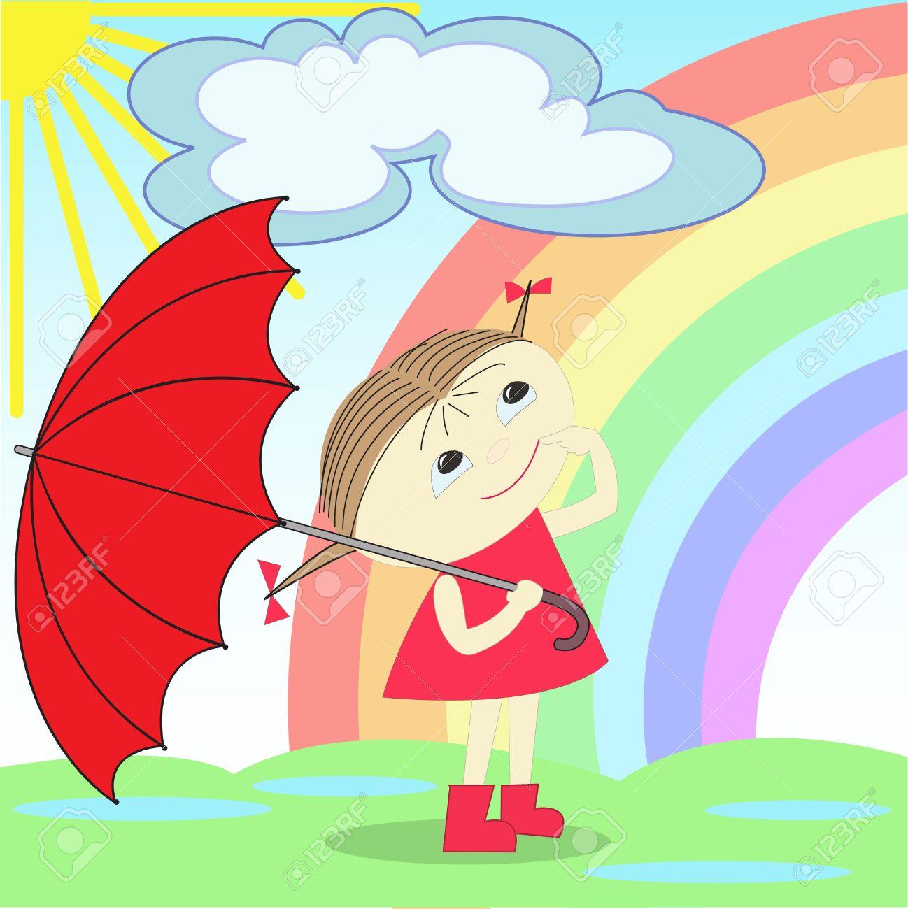 Alone girl in the rain clipart.