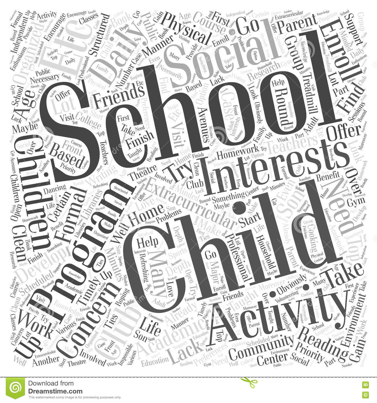 A Home Based After School Program Word Cloud Concept Stock.