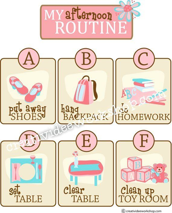 Printable Custom Afternoon/After School Routine Chart.