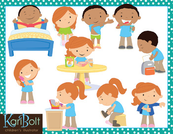 Before and After School (Morning and Afternoon Routine) Clip Art Bundle.