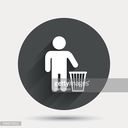 After use to throw in trash. Recycle bin sign. Clipart Image.
