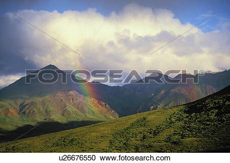 Stock Photography of Rainbow appears after storm. Denali National.
