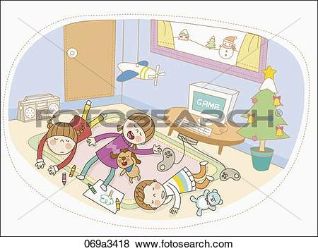 Clip Art of illustration of kids taking a nap after game 069a3418.