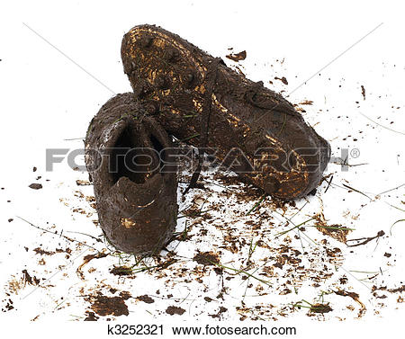 Stock Photography of Muddy football shoes after the game k3252321.