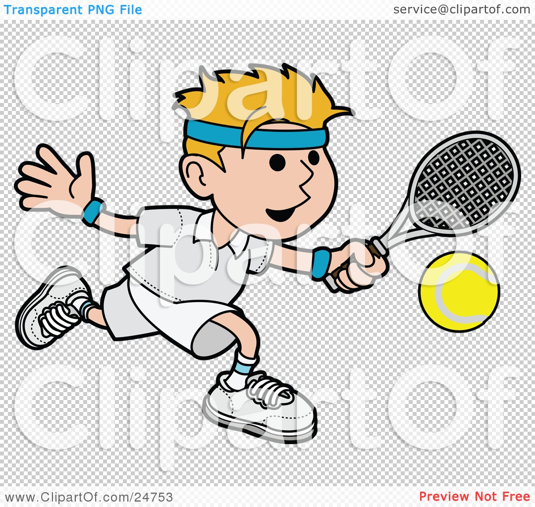 Clipart Illustration of an Athletic Blond Man Running After A.