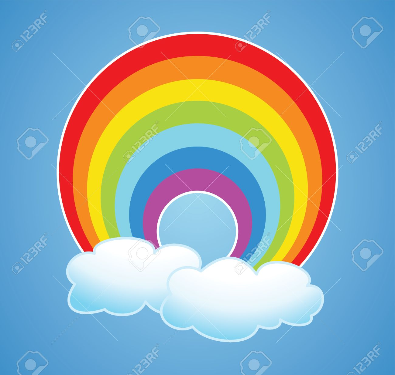 Vector Nature Cartoon Of Rainbow And Clouds In The Sky After.