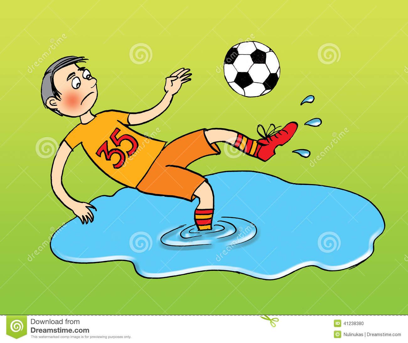 Football Player After Rain, Cartoon Stock Illustration.