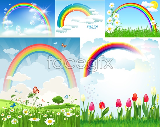 Rainbow after the rain the green fields vector.